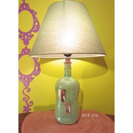 Table Lamp - Green bottle - set with crystals