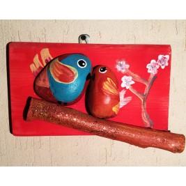 Pebbles & drift wood artwork - birds kissing design
