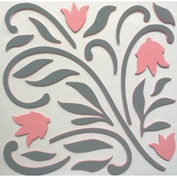 3D Decorative Rubber Wall Sticker - grey leaves