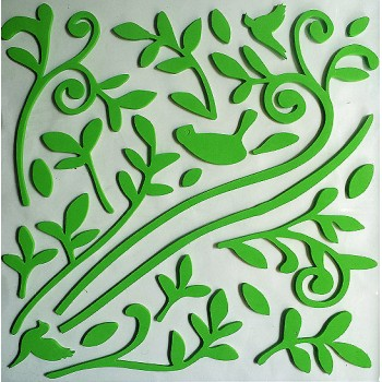 3D Decorative Rubber Wall Sticker - green design