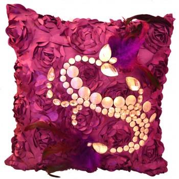 VAZA Handmade Cushion - Abstract Feathers Design