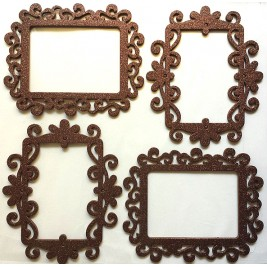 3D Photo Frame Sticker - brown - square design