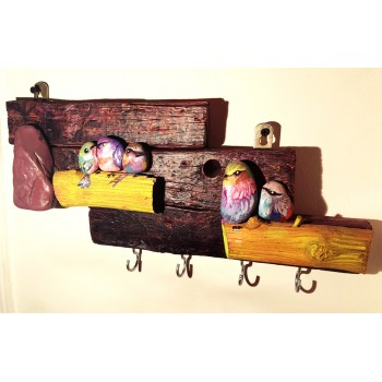 Pebbles & drift wood artwork - birds design - brown 2