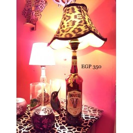 Table Lamp - Amarula Bottle -South African -  Tiger print lampshade