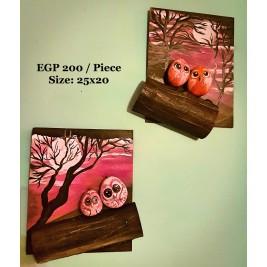Pebbles & drift wood artwork - A pair of cute birds wall art