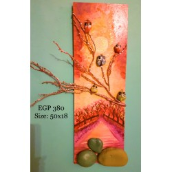 Pebbles & drift wood artwork - Sunset scene - beautiful birds