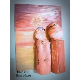 Pebbles & drift wood artwork - 2 birds design - Colorful sunset design