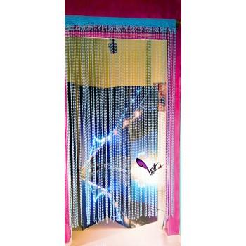 Crochet blue handmade curtain