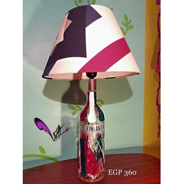 Table Lamp - Finlandia bottle blue design- handmade