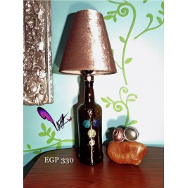 Table Lamp - velvet lampshade Dewar's bottle - handmade