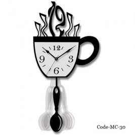 Coffee Cup Modern Wall Clock with a Spoon Pendulum