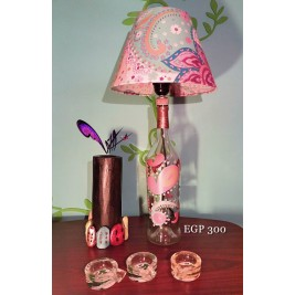 Table Lamp - colorful floral design 2 - handmade