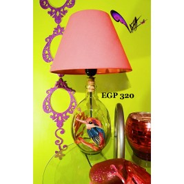 Table Lamp - colorful bird design hand painted - handmade