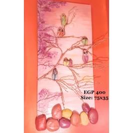 Pebbles & drift wood artwork - purple trees & cute birds design
