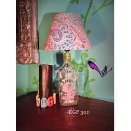 Table Lamp - Floral colorful design 1 - handmade