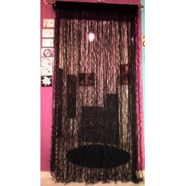 Crochet black handmade curtain - feathers design