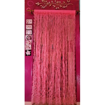 Crochet pink handmade curtain - feathers design