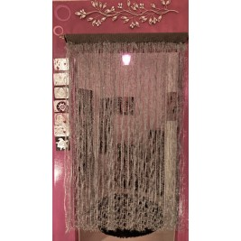Crochet Grey handmade curtain - feathers design