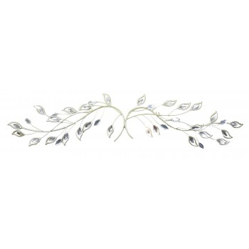Handmade Metal Art – Silver Tree Branches with Crystal Leaves – Horizontal