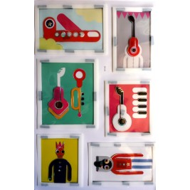 Embellishment Art Wall Sticker - Funky music design