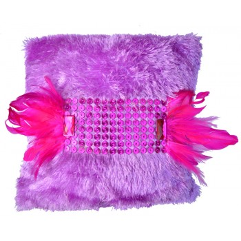 VAZA Colorful Feathers Cushion | Shaggy Short Pile Material