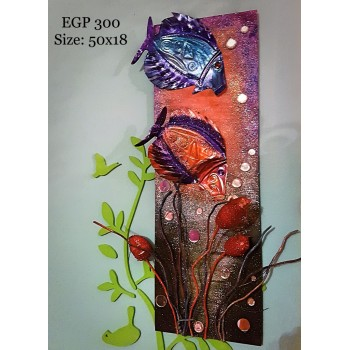 Pebbles & drift wood artwork - colorful fish & coral reef design
