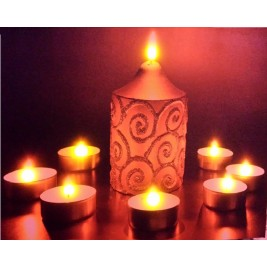 LED Canvas Golden Candles Wall Painting