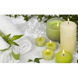 LED Canvas green Candles Wall Painting