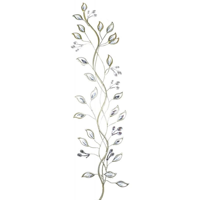 Handmade Metal Art U2013 Silver Tree Branches With Crystal Leaves U2013 Vertical