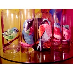 Handmade Vase - colorful Birds design