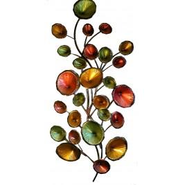 Handmade Metal Art – Tree Branches with Green & Golden Circles Design