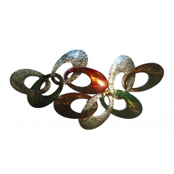 Handmade Metal Art - Colorful Oval Figures Design - Engraved