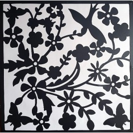 Hanging Room Divider | flowers - black