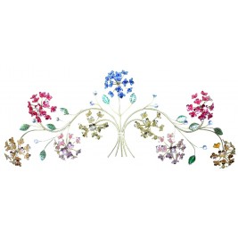 Handmade Metal Art- Hydrangea Flowers Bouquet with  Bright Colors and Shining Crystal