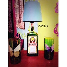 Table Lamp - jagermeister bottle - Cool Green