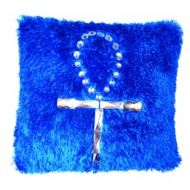 VAZA Handmade Vivid Blue Cushion - Key of Life Crystal Design