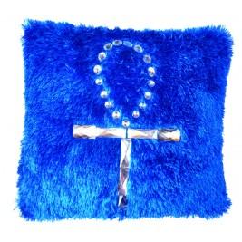 VAZA Handmade Vivid Blue Cushion - Key of Life Crystal Design