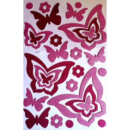 Large DIY 3D Glitter Sticker - Purple Butterflies