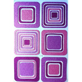 Large DIY 3D Glitter Sticker -  Purple & Fuchsia Squares