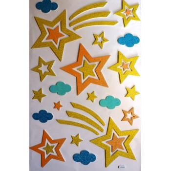 Large DIY 3D Glitter Sticker -  Stars Design