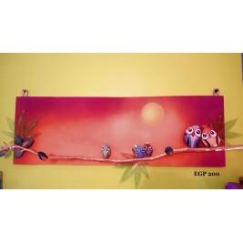 Pebbles & drift wood artwork - Large birds wall frame