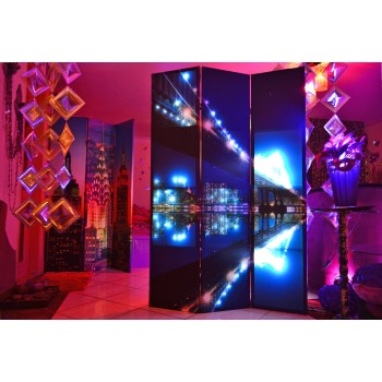 3 Panel Canvas/Wooden Folding Led Room Divider - Art Theme of a swing bridge with City Buildings in the Background