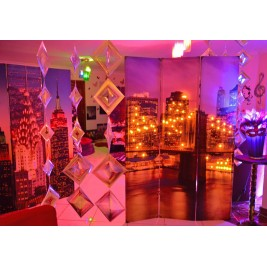 3 Panel Canvas/Wooden Folding Led Room Divider - Art Theme of a bridge crossing over buildings - Night Scene