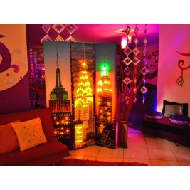 3 Panel Canvas/Wooden Folding Led Room Divider - Empire State Building Night Scene