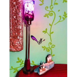 floor lamp - glass lampshade purple design - hand painted