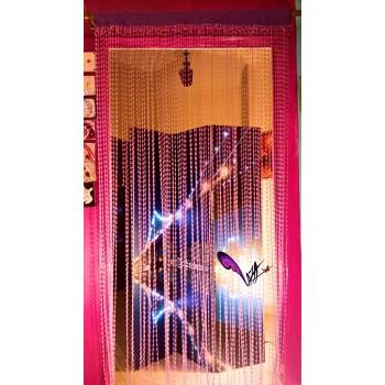 Crochet mauve handmade curtain - 135x220 CM