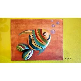 Pebbles & drift wood artwork - Fish Design