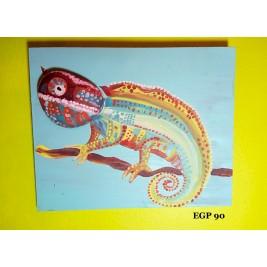 Pebbles & drift wood artwork - Cool colorful lizard wall art