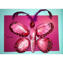 Pebbles & drift wood artwork - Cute butterfly - purple design