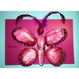 Pebbles & drift wood artwork - Cute butterfly - purple design